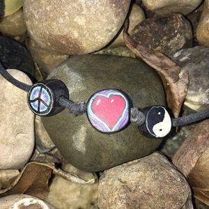 Peace, Love, & Yin Yag Leather Necklace